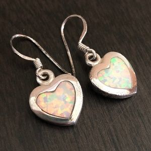 Sterling Silver and Lab Opal Heart earrings